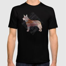 Modern Australian Cattle Dog Watercolor Stripes Mens Fitted Tee MEDIUM Black