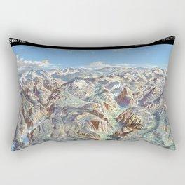 Sky Panorama Map of Yosemite National Park with Labels Rectangular Pillow