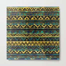 Gold and Teal Marble Tribal Boho Ethnic  Pattern Metal Print