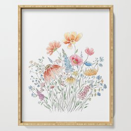 wild flower bouquet and blue bird- ink and watercolor 2 Serving Tray