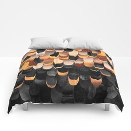 Feathered - Copper And Black Comforters