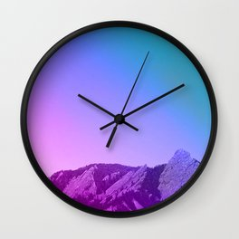 Boulder Colorado Flatirons Decor \\ Chautauqua Park Purple Pink Blue Green Nature Bohemian Style Art Wall Clock