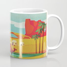 Desert Horizon - Kitschy Mid Century Style Watercolor Print with Camels  Coffee Mug