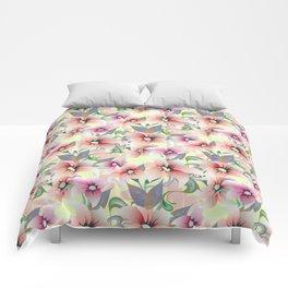 Elegant pink coral modern floral botanical illustration Comforters