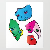Broken Dolls Colour Art Print