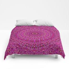Hot Pink Floral Mandala Comforters