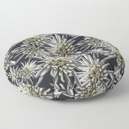 Mum Floral Pattern - Mum's the word - Black and White Floral Design - White Mum Flowers - I Love my Floor Pillow