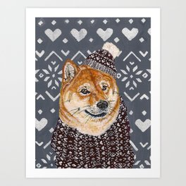Shiba Inu in a  Hat and Scarf Art Print