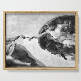 Black and White Creation of Adam Painting by Michelangelo Sistine Chapel Serving Tray