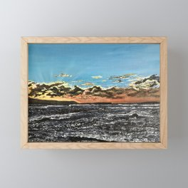 Sunset over the sea Framed Mini Art Print