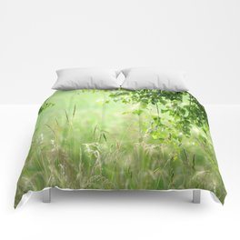 Birch leaves with Green Grass Comforters