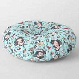 Suzy Sailor Girl on Light Blue Floor Pillow