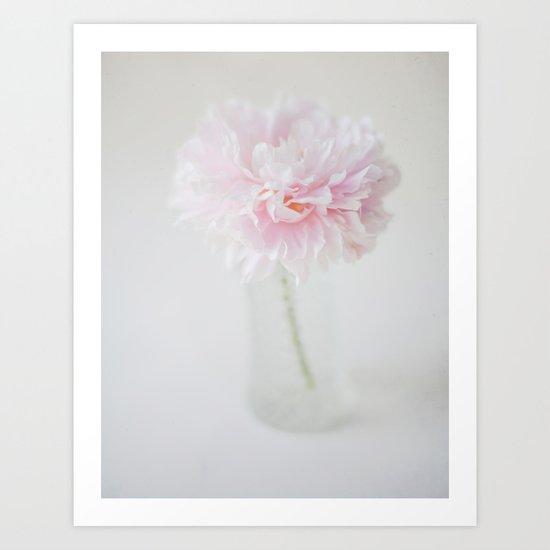 Textured Pink Peony Art Print
