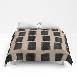 Brush Strokes Vertical Lines Black on Nude Comforters