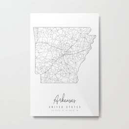 Arkansas Minimal Street Map Metal Print