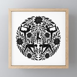 Yoga Girls Illustration with Lotus Flowers and Leaves // Black and White Framed Mini Art Print
