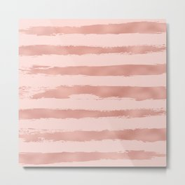 Elegant Rose Gold Metallic Handpainted Stripes Metal Print