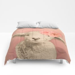 Flower Sheep Girl Portrait, Dusty Flamingo Pink Background Comforters