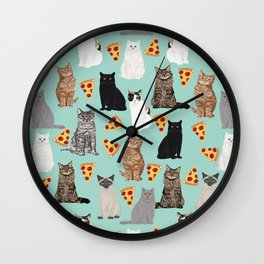 Cats with Pizza slices cheesy food funny cat lover gifts by pet friendly pet portraits Wall Clock