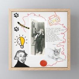 Cat, telephone and Albert Einstein quote Framed Mini Art Print