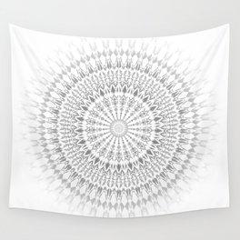 Gray White Mandala Wall Tapestry