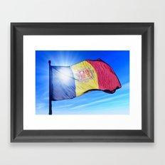 Andorra flag waving on the wind Framed Art Print