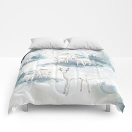Snowy Winter Forest Comforters