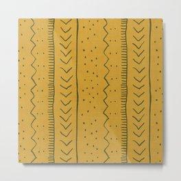 Moroccan Stripe in Mustard Yellow Metal Print