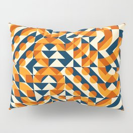 Orange Navy Color Overlay Irregular Geometric Blocks Square Quilt Pattern Pillow Sham