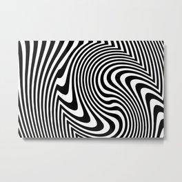 Optical Illusion Op Art Black And White Metal Print