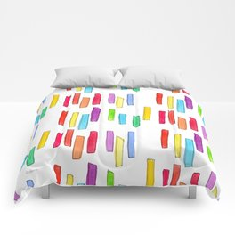 """""""Equality!"""" Watercolor Painting Rainbow Colorful Pattern Minimal Gay Lesbian Couple Gift Comforters"""