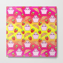 Cute happy funny pink baby bunnies, sweet adorable yummy Kawaii croissants and red ripe summer strawberries cartoon colorful bright sunny yellow and pink pattern design Metal Print