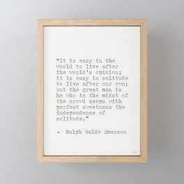 Ralph Waldo Emerson philosophy Quote Framed Mini Art Print