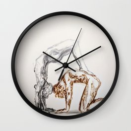 Silver & Gold Acrobats Wall Clock