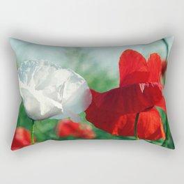 White Poppy and Red Poppy Rectangular Pillow