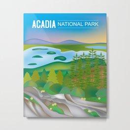 Acadia National Park, Maine - Skyline Illustration by Loose Petals Metal Print