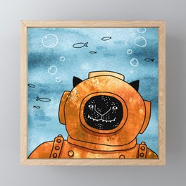 Scuba cat Framed Mini Art Print