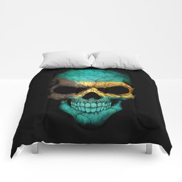 Dark Skull with Flag of Bahamas Comforters