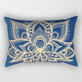 Gold and Blue Lotus Flower Mandala Rectangular Pillow