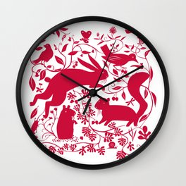 Woodland Creatures - Red Wall Clock