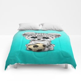 Snow leopard Cub With Football Soccer Ball Comforters