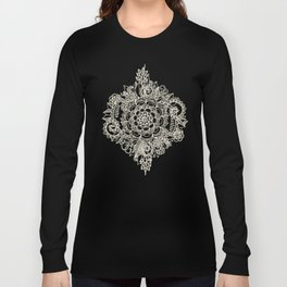 Cream Floral Moroccan Pattern on Deep Indigo Ink Long Sleeve T-shirt