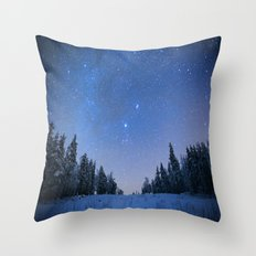 Blue Night Stars Wintry Forest Throw Pillow