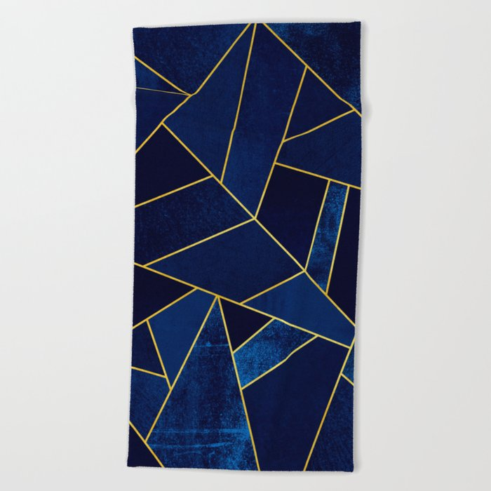 Blue stone with yellow lines Beach Towel