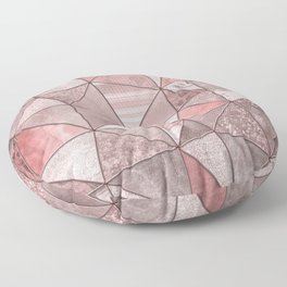 Soft Pink Coral Glamour Gemstone Triangles Floor Pillow