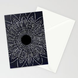 Flor Universo Negro Stationery Cards