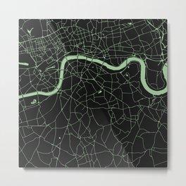 London Black on Green Street Map Metal Print