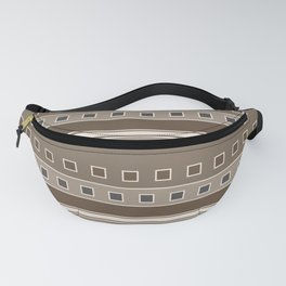 Squares and Stripes Geometric Design in Brown Fanny Pack