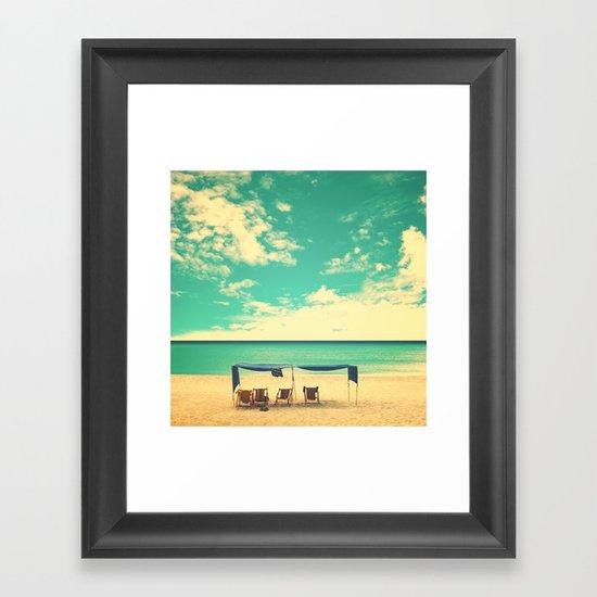 Paradise Beach and Retro Blue Sky  Framed Art Print