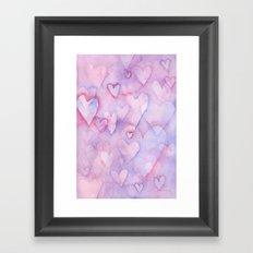 Pink Hearts Pattern Framed Art Print